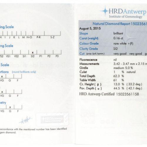 HRD Certified Brilliant Cut Natural Diamond 0.16 ct. Gewicht: 0,16 ct. (3,42 3,4…