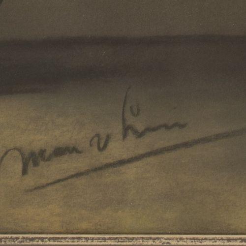 Dutch School, 20th C. Sunflowers. 含糊不清的签名(右下角),纸上粉笔画。尺寸:60 x 50厘米。