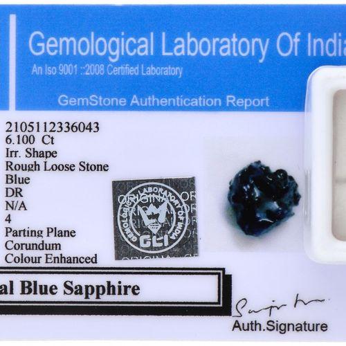 GLI Certified Rough Natural Sapphire Gemstone 6.100 ct. Schliff: Grob, Farbe: Bl…