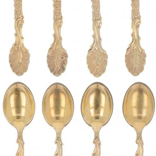 (8) piece set teaspoons silver. Fundido y dorado con decoraciones florales. Dina…