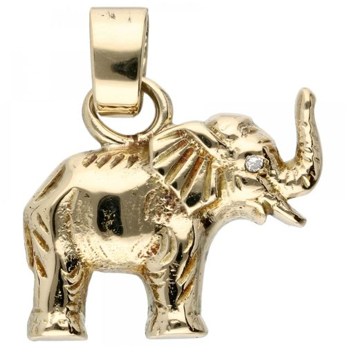 14K. Yellow gold pendant in the shape of an elephant. Auge besetzt mit einem Dia…