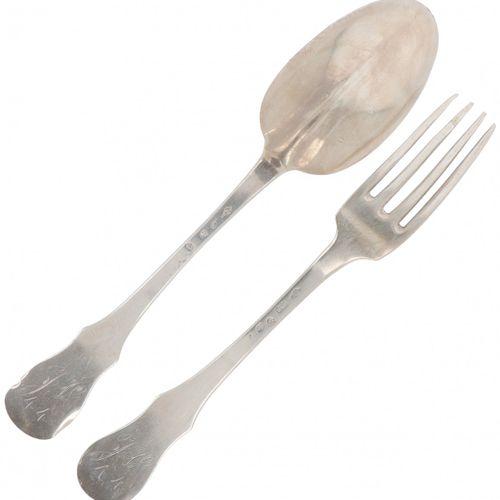 """Spoon & fork (Brussels Theodorus Smeesters 1785) silver. """"Gevleugeld Lof"""" o lof …"""