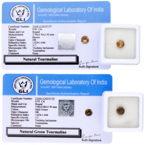 Two GLI Certified Natural Tourmaline Gemstones of 0.95 ct. And 0.85 ct. Corte: R…