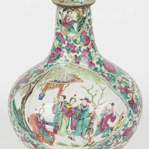 A porcelain stem vase with lid with Famille Rose decor and Chinese figures in th…