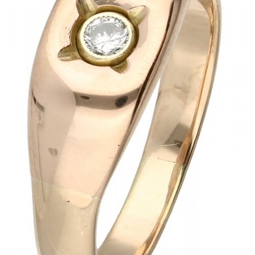 14K. Rose gold solitaire ring set with approx. 0.06 ct. Diamond. Ein Diamant im …