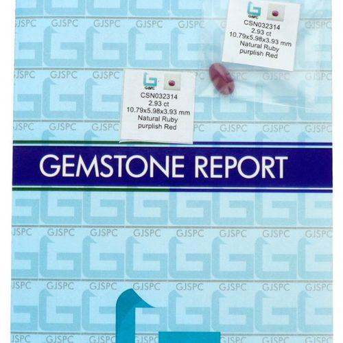 GJSPC Certified Natural Ruby Gemstone 2.93 ct. Schliff: Oval gemischt, Farbe: Pu…