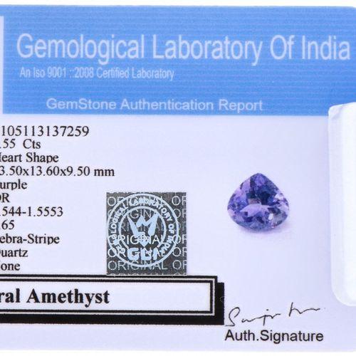 GLI Certified Natural Amethyst Gemstone 8.55 ct. Corte: Forma de corazón, Color:…