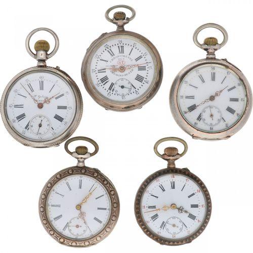 Lot (5) Pocket Watches Silver Lot de 5 montres de poche pour hommes, les mouveme…