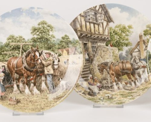 John L. Chapman Wedgwood Life on the Farm, Plates (4) Porcelain null