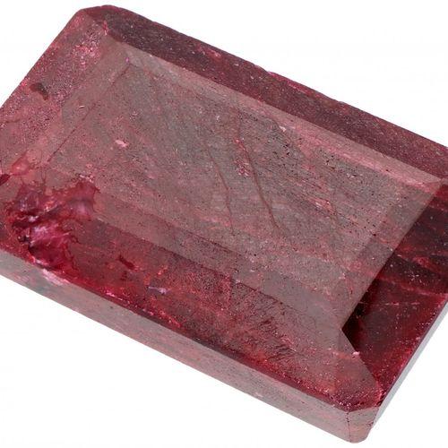 GLI Certified Natural Ruby Gemstone 356.000 ct. 切割。长方形台阶, 颜色: 红色, 重量: 356.000 ct…