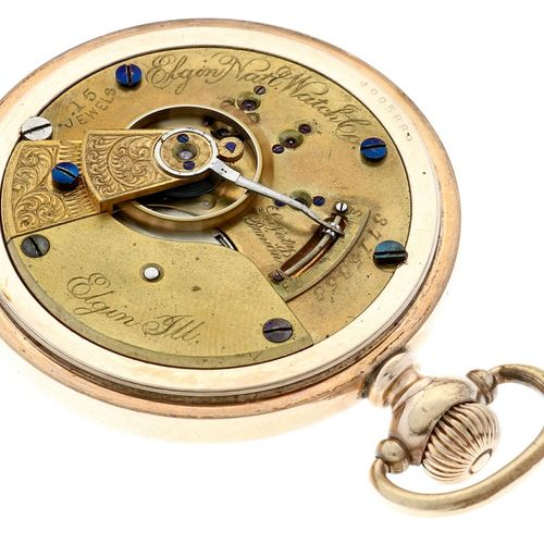 Elgin National Watch Company Men's pocket watch approx. 1915. Gehäuse: vergoldet…