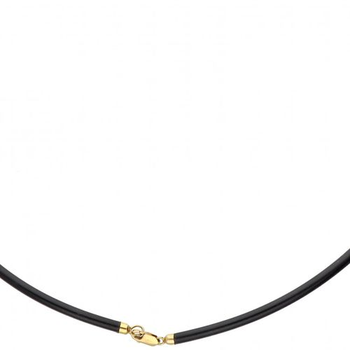 Rubber necklace with a 14K. Yellow gold closure and pendant set with carnelian. …