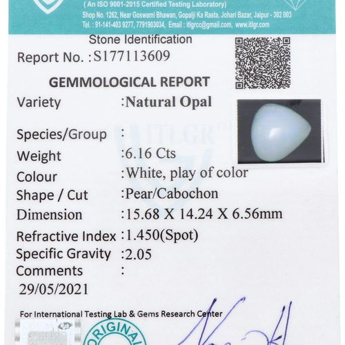 ITLGR Certified Natural White Opal Gemstone 6.16 ct. 切工:梨形凸面体,颜色:白色,带有色彩,重量:6.16…