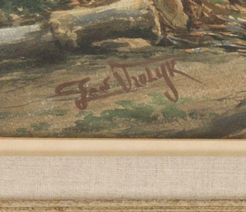 Johannes Martinus Vrolijk (1845 – 1894), (Attributed to) A cowherdess on a sandy…