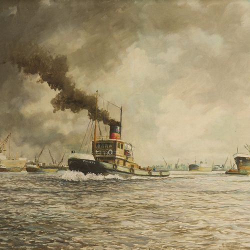 Dutch School, 20th C., A steam powered towboat in Rotterdam harbour. 隐约有签名(左下),布…