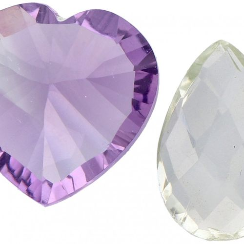 Two GLI Certified Natural Purple (4.10 ct.) and Green Amethyst (1.90 ct.) Gemsto…
