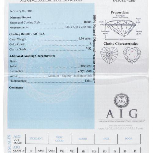 AIG Certified Heart Cut Natural Diamond 0.30 ct. Poids : 0,30 ct. (5,05 x 5,10 x…