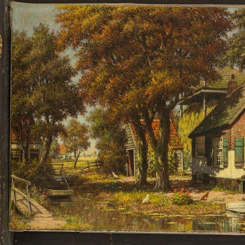 H. Veenendaal, First half 20th C. A sunlit farmyard. 签名(右下),布面油画。尺寸:40 x 60厘米。(无…