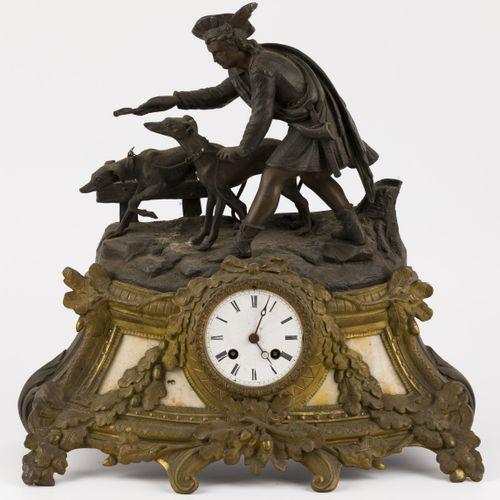 A ZAMAC chimney pendulum crowned with figure of a huntsman in renaissance dress,…
