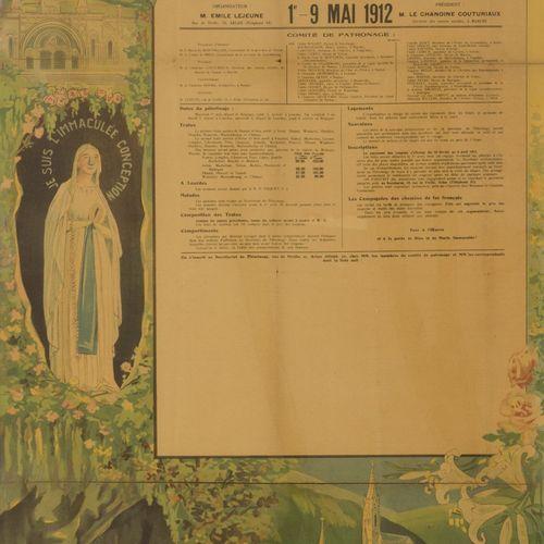 A lithograph anouncing a pelgrimage to Lourdes departing from Namur, Belgium, 1 …