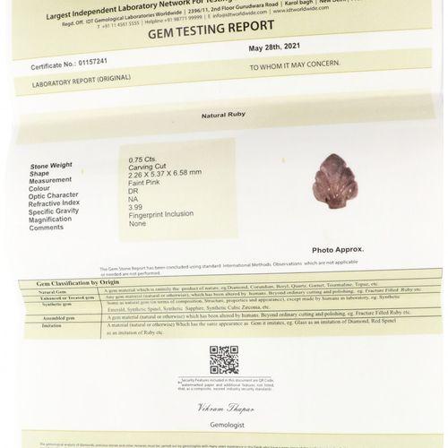 IDT Certified Natural Ruby Gemstone 0.75 ct. Corte: Talla, Color: Rosa tenue, …