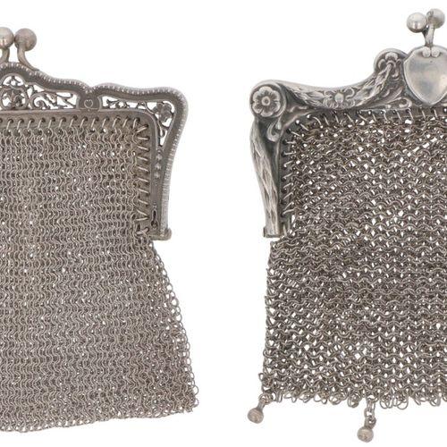 (2) piece lot of silver bracket purses. Diseño diferente, ambos con funda de cot…