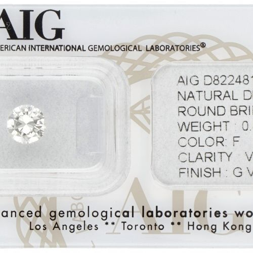 AIG Certified Brilliant Cut Natural Diamond 0.84 ct. Peso: 0,84 ct. (6,28 6,37 x…