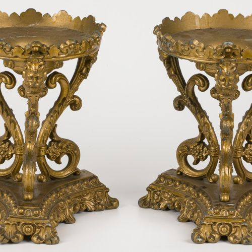 A set comprised of (2) gold painted ZAMAC tazza supports, France, 1st half 20th …