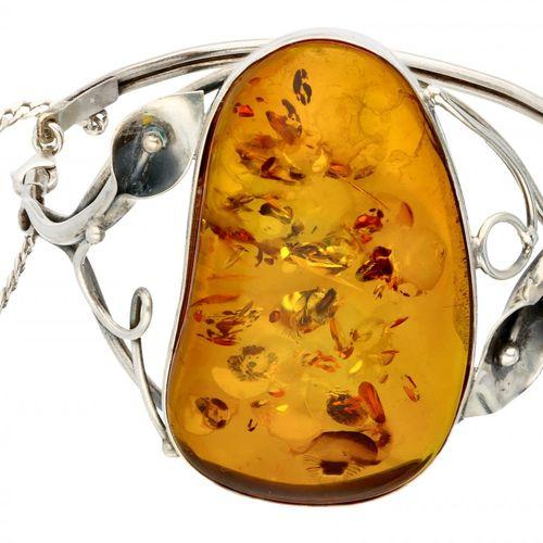 Silver bangle set with amber 925/1000. Mit Sicherheitskette. Bernstein ca. 4,9 x…