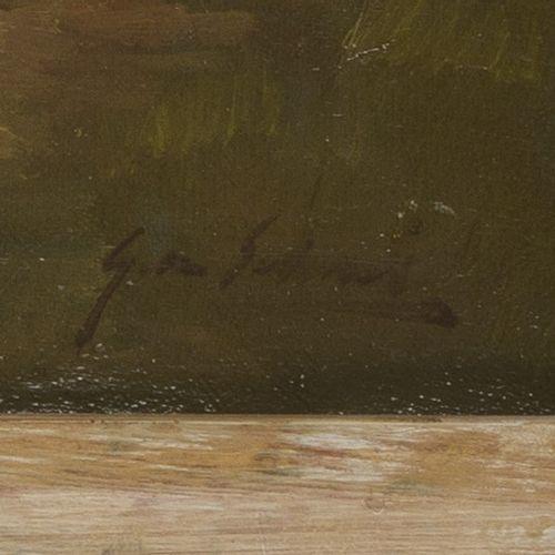 Gijs van Schaik (1905 1952), Willows on the waterfront. Signée (en bas à droite)…