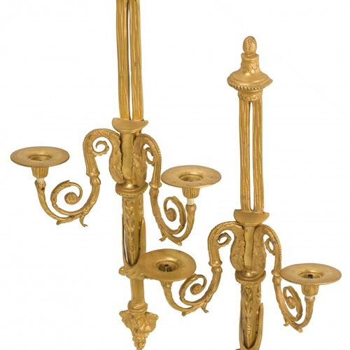 A set of (2) bronze Louis XVI style wall candelabra, France, 20th century. Deux …