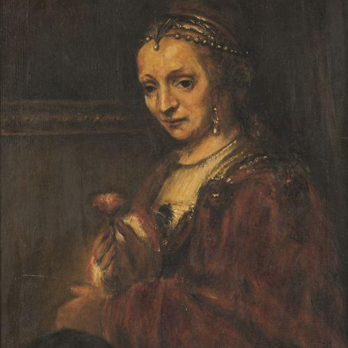Naar Rembrandt van Rijn (Leiden 1606 1669 Amsterdam), Portrait of a lady with a …