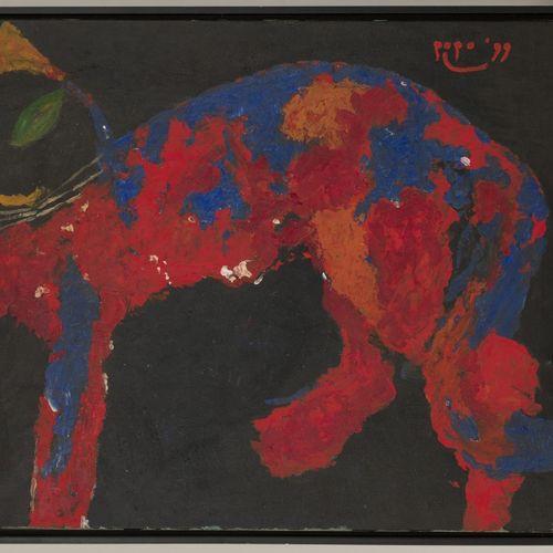 """In the style of CoBrA, A Cat. Signé et daté """"popo( ?) 99"""" (en haut à droite), hu…"""
