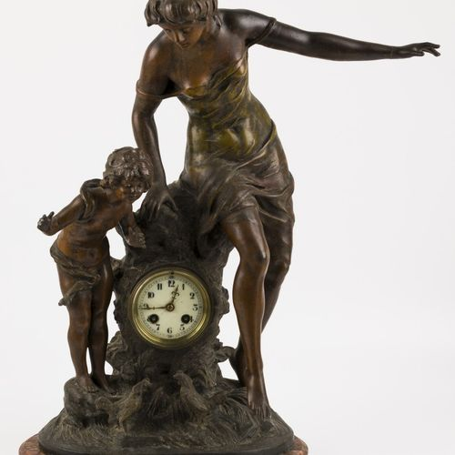 After Auguste Moreau (Dijon 1834 1917 Malesherbes Fr.), a ZAMAC chimney pendulum…
