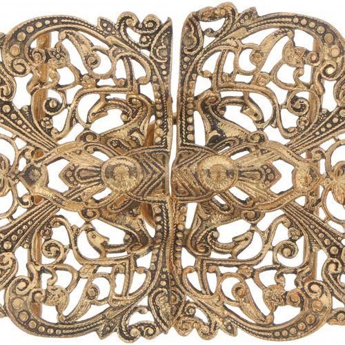 Belt buckle BLA. Beau modèle ajouré, doré. Début du XXe siècle, signes d'usure. …