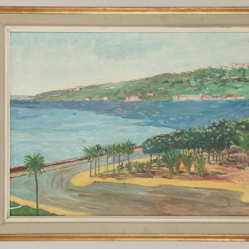 """Signed """"Matthys, A."""", 20e eeuw. View of a coastal village in the South of France…"""