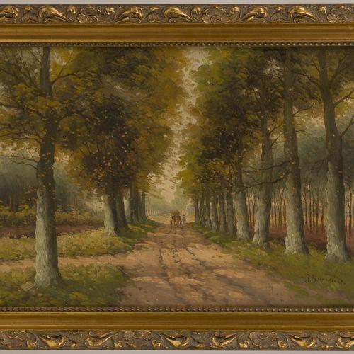 "Dutch School, 20th C.. A horsedrawn cart on a forrests' path. Signé ""J. Fijnvand…"