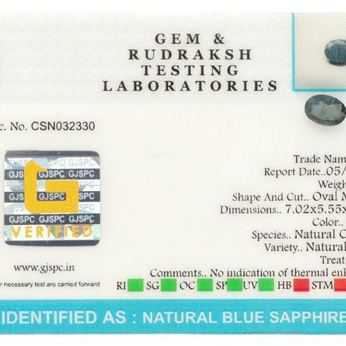 GJSPC Certified Natural Blue Sapphire Gemstone 1.36 ct. Schliff: Oval gemischt, …