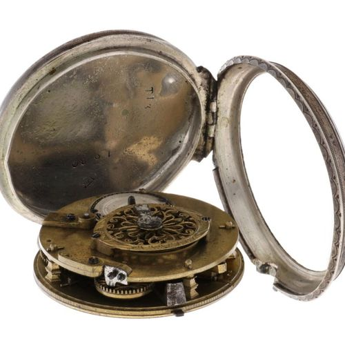 Verge Fusee Silver Men's pocket watch approx. 1750. 表壳: 银色 (835/1000) 链条: 钢 手动上链…