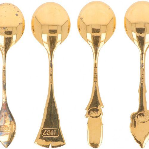 """(4) part lot annual spoons """"Robbe & Berking"""" silver. Número de año: 1984 / 1987 …"""