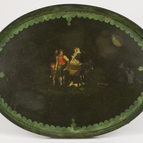 An oval tole tin serving tray with polychromed scene of a travelling company, En…