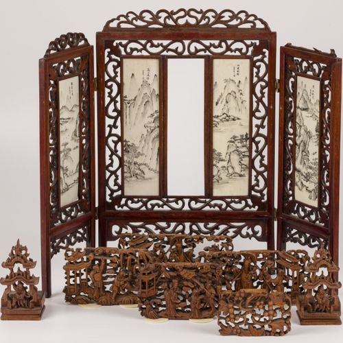 A miniature wooden folding screen with bone together with various boxwood panels…