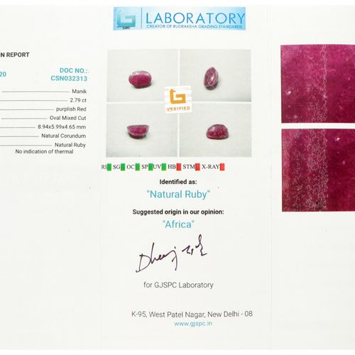 GJSPC Certified Natural Ruby Gemstone 2.79 ct. Taille : Ovale mixte, Couleur : R…