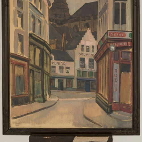 Emile Feront XIX / XX, A street in Antwerp (?). 签名(左下),布面油画。尺寸:80 x 70厘米。
