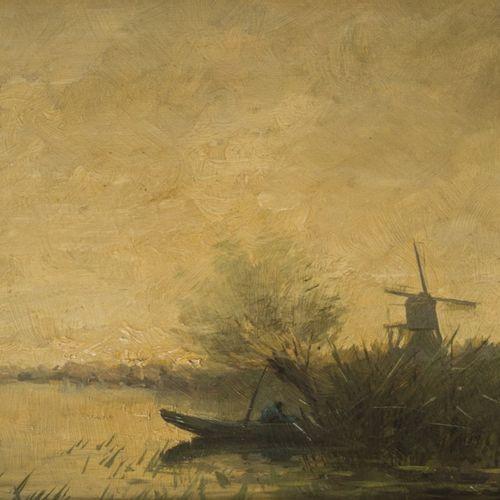 Jan Jans (Amsterdam 1872 1943), A polderlandscape with a fisherman setting fish …