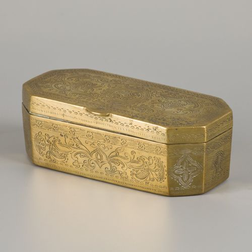 A colonial copper tobacco container, Indonesia, ca. 1900. Null