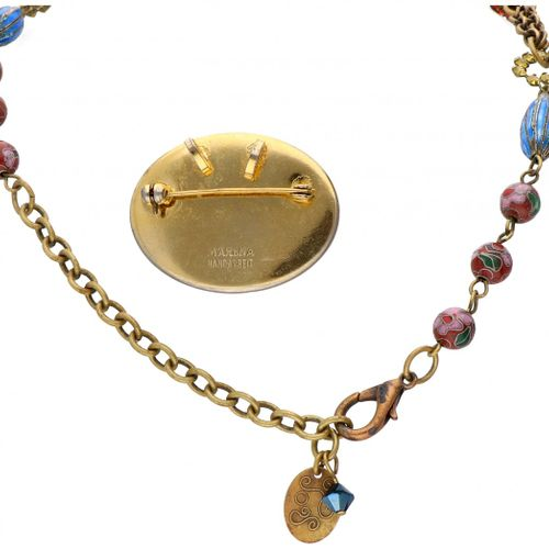 Set of vintage 'Marena & Eros Jewelry' brooch and a necklace set with colorful s…
