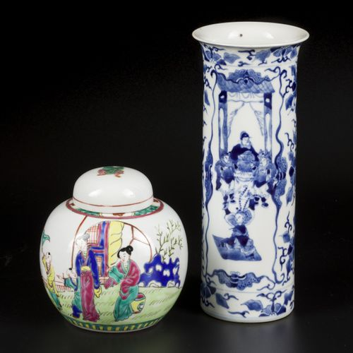 (2) porcelain set consisting of a ginger jar and a beaker vase. China, 19th/20th…