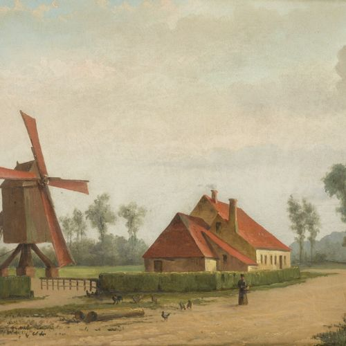 Dutch School, ca. 1900. A sandy road in a village with windmill. 有首字母签名(左下),布面油画…
