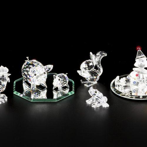 (9) piece lot of Swarovski miniatures 包括:猪,小猪,公鸡,松鼠,哈雷克和2个镜板。状况良好。估计:10 40欧元。